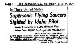 Página 2 del Chicago Sun, 26 de Junio de 1947, donde se incluye la primera referencia al término Platillo Volante.