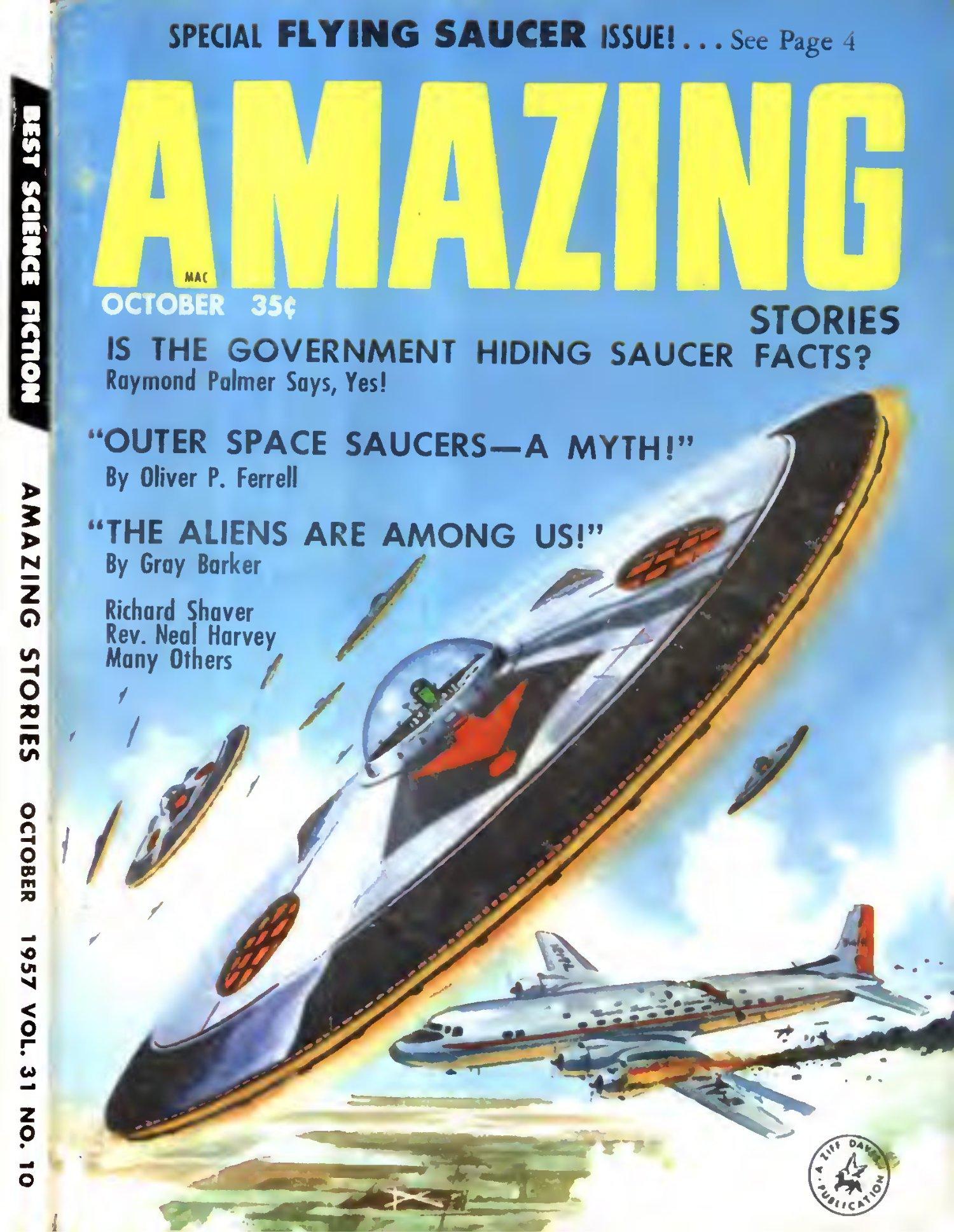 Portada SPECIAL Platillos Volantes, Amazing Stories Octubre  de1957.https://ia801609.us.archive.org/12/items/Amazing_Stories_v31n10_1957-10_cape1736/Amazing_Stories_v31n10_1957-10_cape1736.pdf